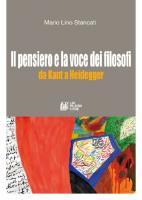Il pensiero e la voce dei filosofi. Da Kant e Heidegger